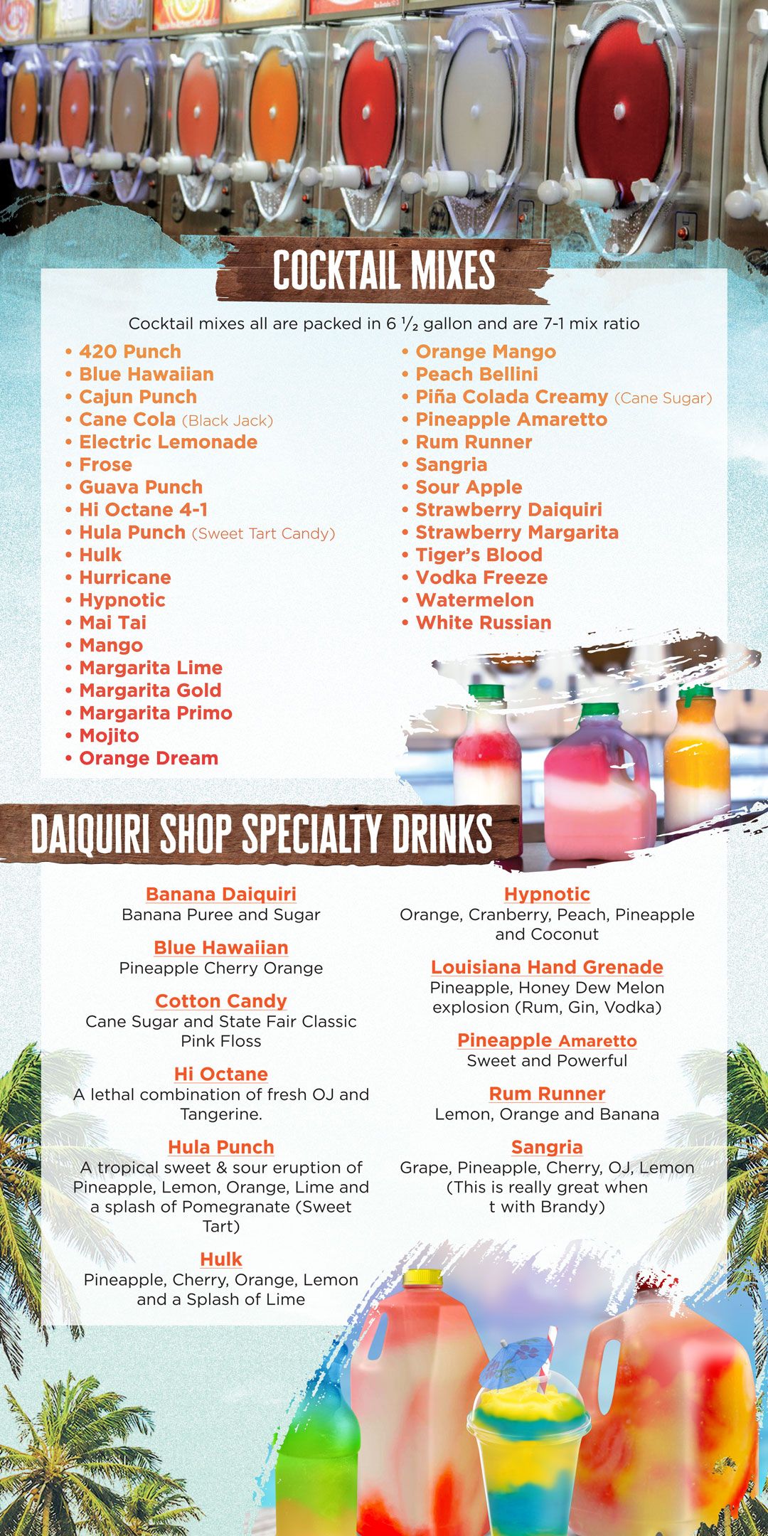 Cocktail Mixes & Daiquiri Ship Drinks